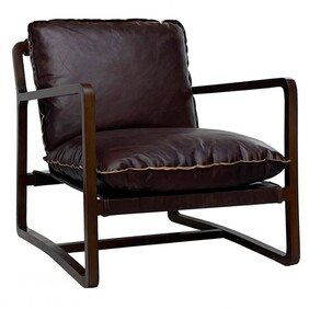 ARIA LEATHER LOUNGE CHAIR - BROWN