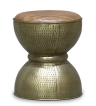 SURAT BRASS AND LEATHER STOOL