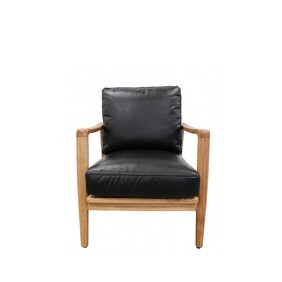 BUCKLE ARMCHAIR - BLACK WITH NATURAL FRAME