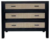 ALAMEIN 3 DRAWER COMMODE - RUSTIC BLACK
