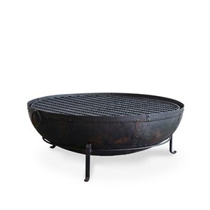IRON FIRE BOWL WITH GRILL 120CM