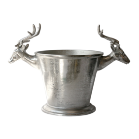 CHAMPAGNE BUCKET WITH DEER HEADS IN RAW NICKEL