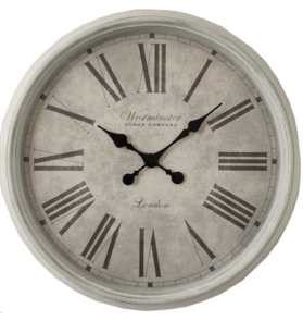 ROMAN NUMERAL WESTMINSTER CLOCK - WHITE