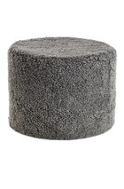 NEW ZEALAND SHORT CURLY WOOL ROUND POUF - Graphite