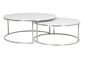 ELLE ROUND MARBLE NEST COFFEE TABLES - SILVER / WHITE