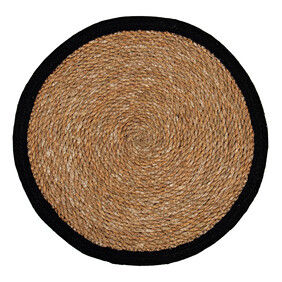 JUTE ROUND PLACEMAT WITH BORDER - BLACK