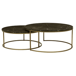 ELLE ROUND MARBLE NEST COFFEE TABLES - GOLD / BROWN