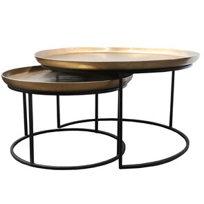 MONROE COFFEE TABLES SET OF 2 - ANTIQUE BRASS