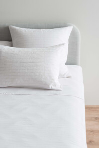 LINEA LINEN COTTON FITTED SHEET - WHITE/ASH