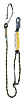SINGLE ADJUSTABLE ROPE LANYARD - LASSO PRO - WITH SNAPHOOK AND SCAFFOLD HOOK
