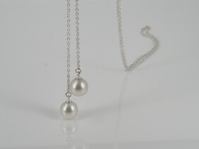 Necklace - Long scarf necklace of white South Sea pearls and stg silver chain