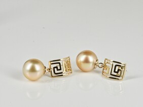 Gold Pearls with Greek Meander frieze