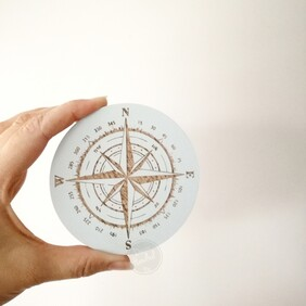 Nautical Compass Engraved Wall Handle