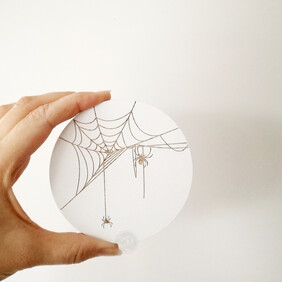 Spiders on a Web Engraved Wall Handle