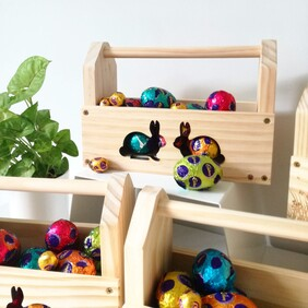 Wooden Bunny Carry Basket
