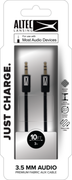 AL Aux 3.5mm to 3.5mm Fabric Cable - Black Cable
