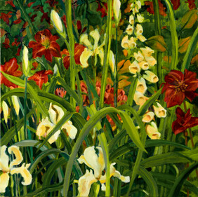 Picture Irises with Foxgloves