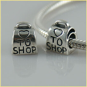 Love To Shop Sterling Silver Charm