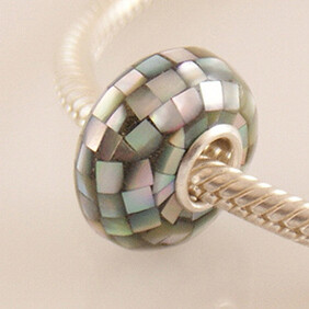 Shell Bead with Sterling Silver Core