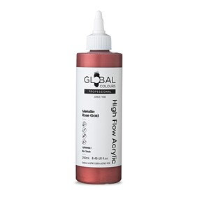 Global High Flow Acrylic Paint - Rose Gold, 250ml