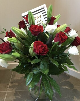 Lillies Lisanthus and Roses with Vase & Card