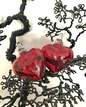 Red Glass Heart - pair