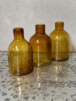 Glass Bottle - hand blown - set of 3