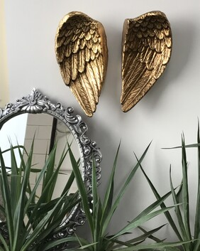 Wings of Independence - ceramic/gold leaf pair