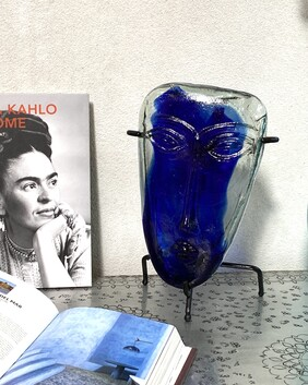 Mexican Glass Mask - Blue