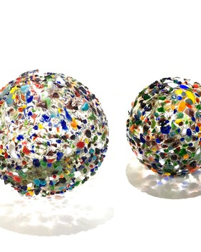 Hand crafted Carnival Glass Ball Set