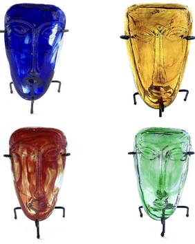 Mexican Glass Mask - set of 4
