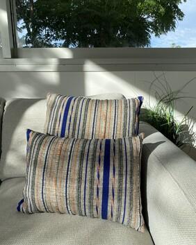 MiM Custom Cushion pair - Navy and Rust tones