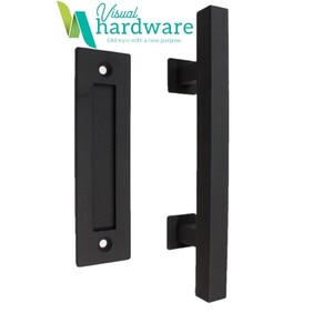 Square Pull Handle with Flush Handle - Antique Black - 300mm