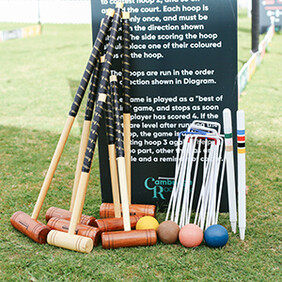 Croquet Set and Rules Sign