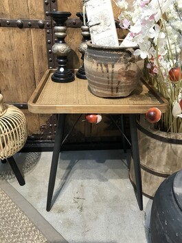 Rattan and iron and wood side tables