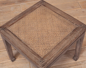 Wood and rattan side table