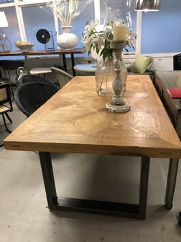 Manchurian pine and metal dining table