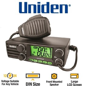 Uniden UH5050 DIN Size UHF CB Mobile - 80 Channels with Large LCD Screen