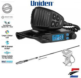 Uniden UH9000 Accessory Pack  Mini Compact Size UHF CB Mobile with AT880 Antenna & Mount Bracket