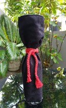 Wine Gift Bag Black Sueddette with Red Rope Tie