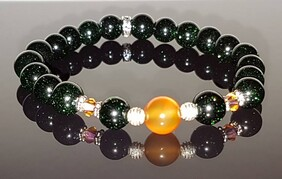 Green Goldstone with Carnelian Focal Stone and Swarovski Crystals
