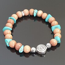 Rosewood and Turquoise and Hematite with S/S Fancy Focal