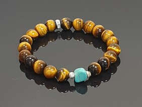 Tiger Eye,(Golden) with Turquoise Focal Stone