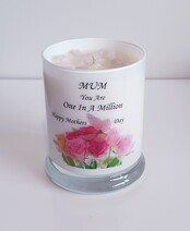 Soy Wax Candle with Rose Quartz Crystal - Mothers Day