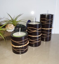 Mangowood Tealight Candle Holders - Trio  * Clearance*