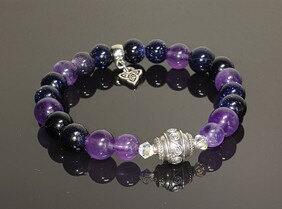 Amethyst and Blue Goldstone, with S/S  Bali Bead Focal  and Triquetra Charm