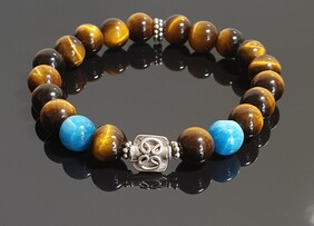 Tiger Eye and Apatite with S/S Celtic Focal Charm