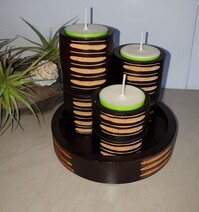 Mangowood Candle Holder - Trio with Tray    *Clearance*
