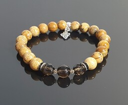 Picture Jasper and Smoky Quartz with Triquetra Charm