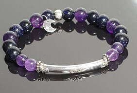 Blue Goldstone and Amethyst with  Sterling Silver Fancy Focal Bar and S/S Om Bead ,Moon/Star Charm